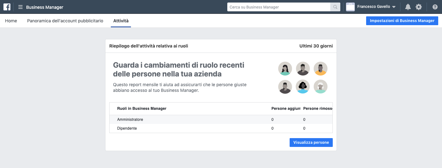 Riepilogo dell'attività in Facebook Business Manager