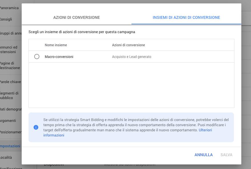 Scelta di un insieme di azioni di conversione in Google Ads
