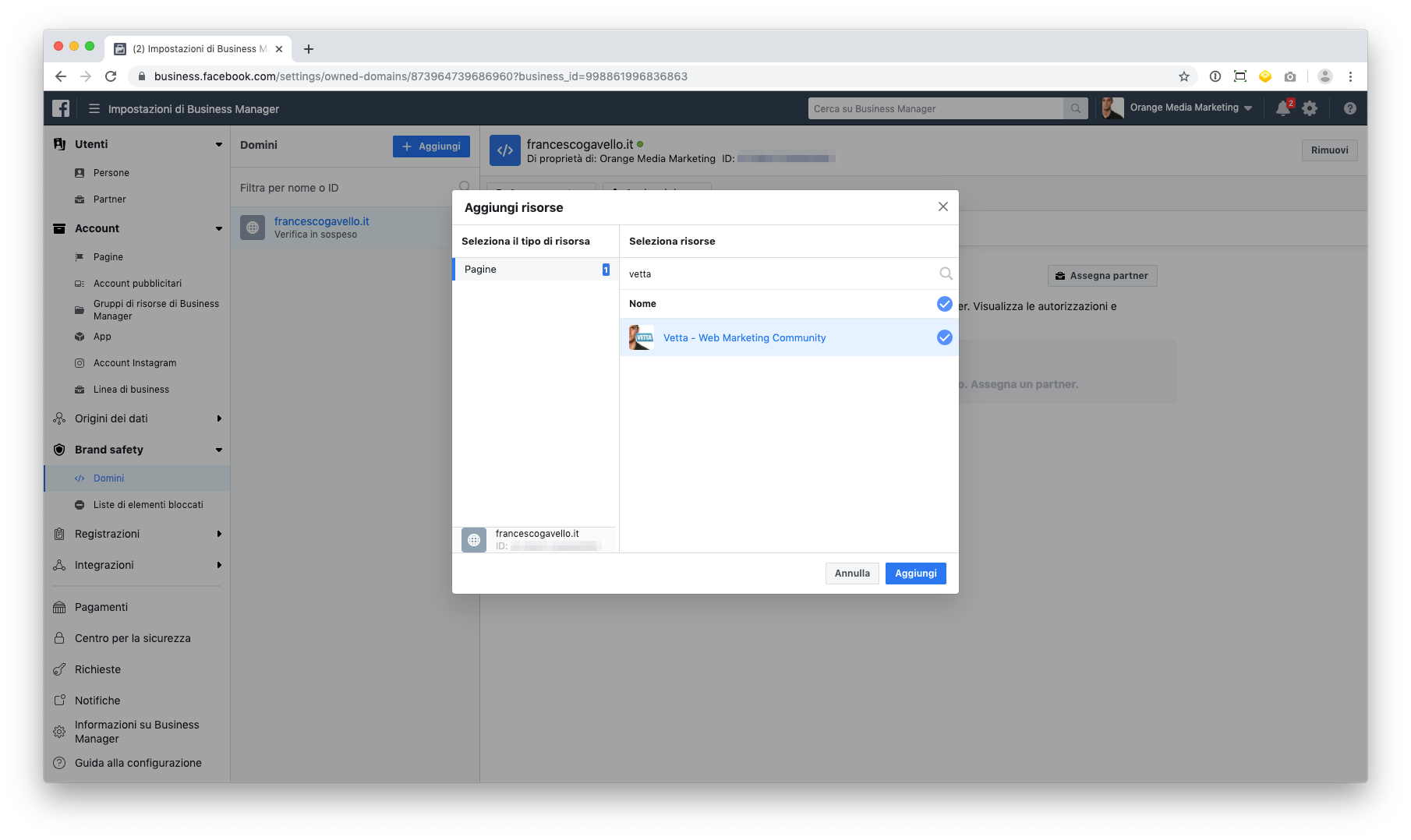 Assegnare un dominio a una pagina in Facebook Business Manager