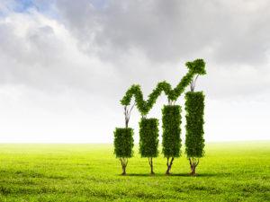simbolo della green economy che cresce con un prato verde e una freccia che sale verso l'alto