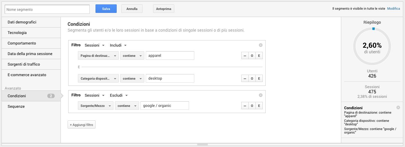 Segmenti avanzati in Google Analytics basati su condizioni