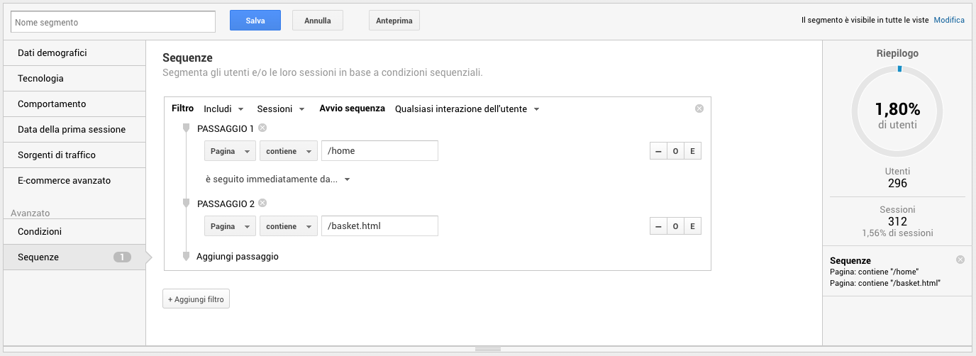 Segmenti avanzati in Google Analytics basati su sequenze