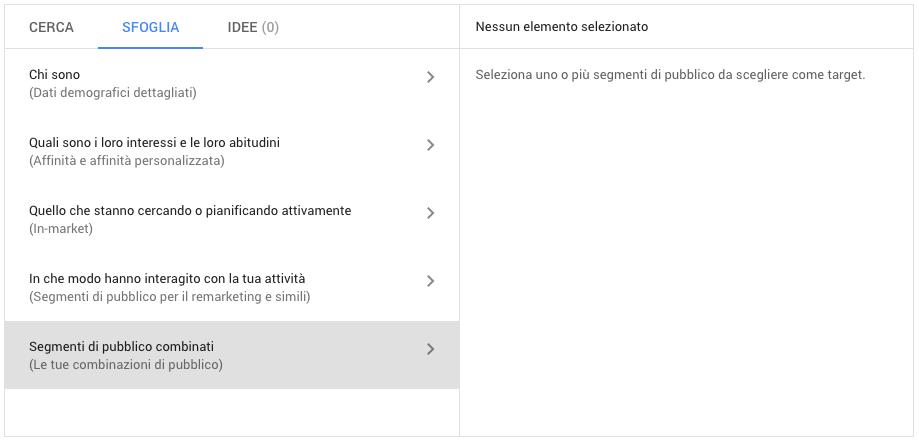 Segmenti di pubblico combinati in Google Ads
