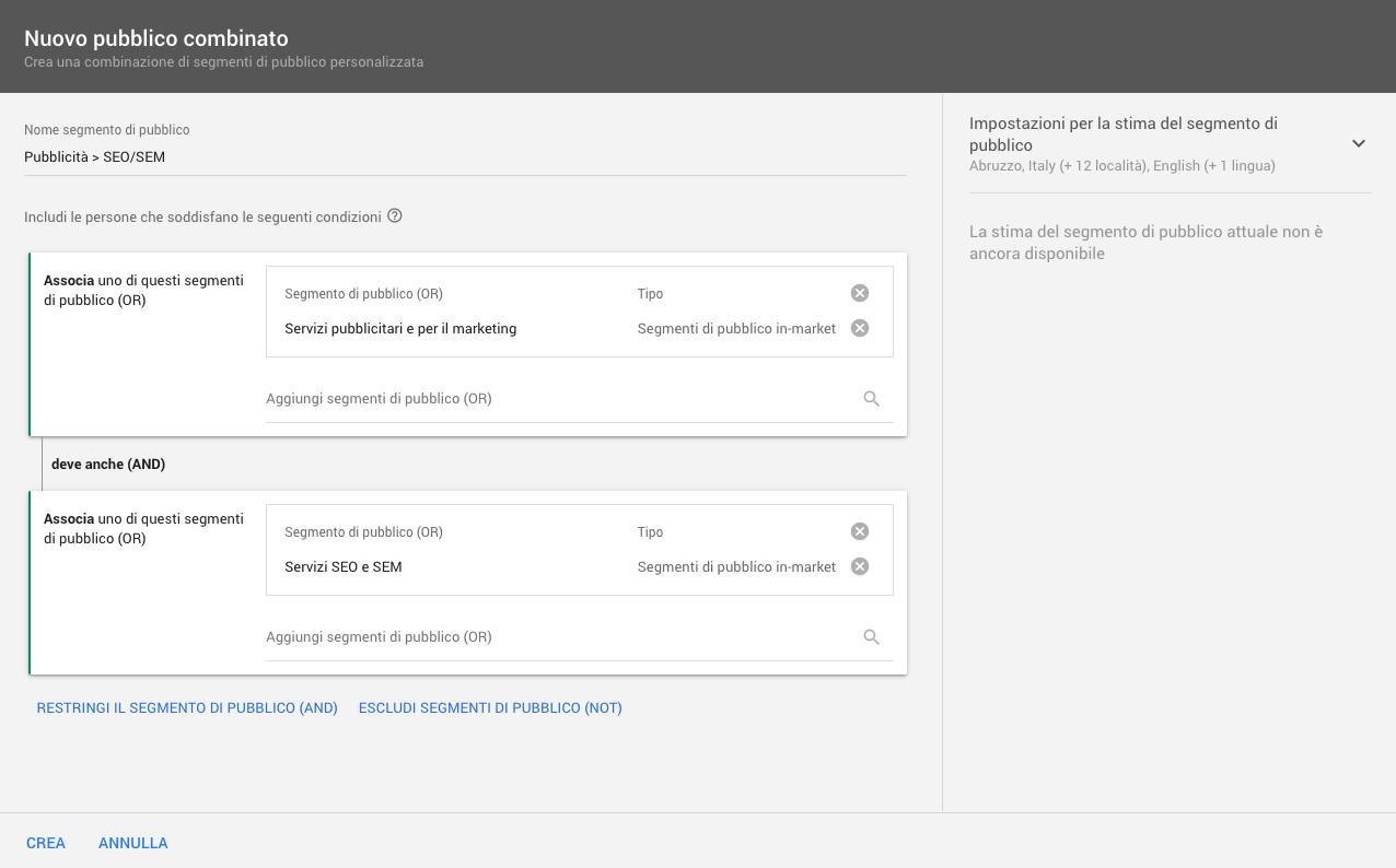 Come creare segmenti di pubblico combinati in Google Ads