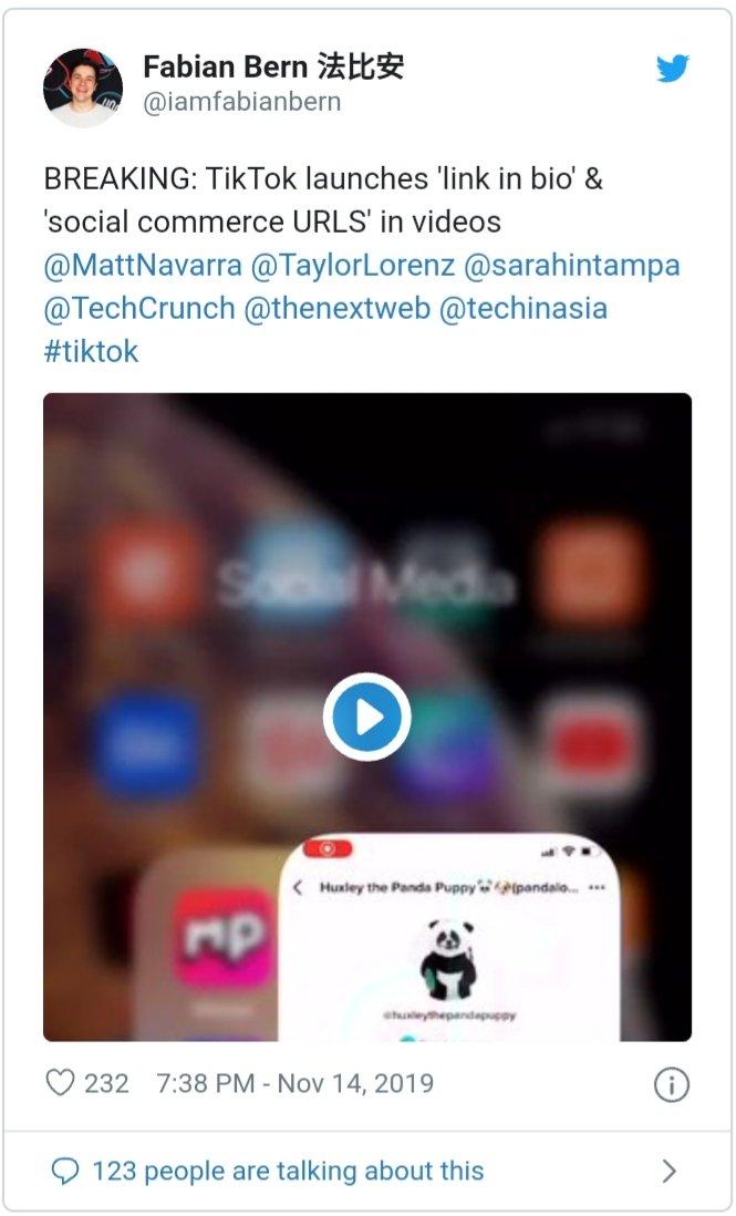 TikTok test link video