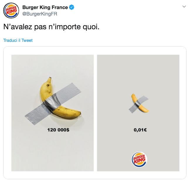 Newsjacking di Burger King con Cattelan