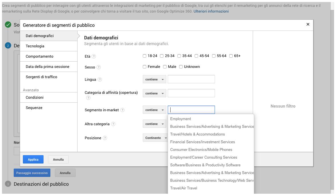 Condivisione di segmenti di pubblico per interessi da Google Analytics a Google Ads