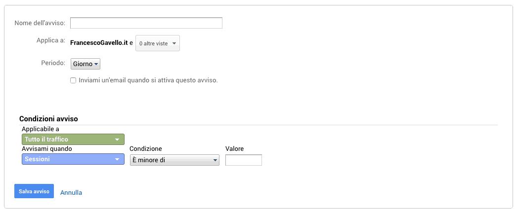 Creazione di un avviso personalizzato in Google Analytics