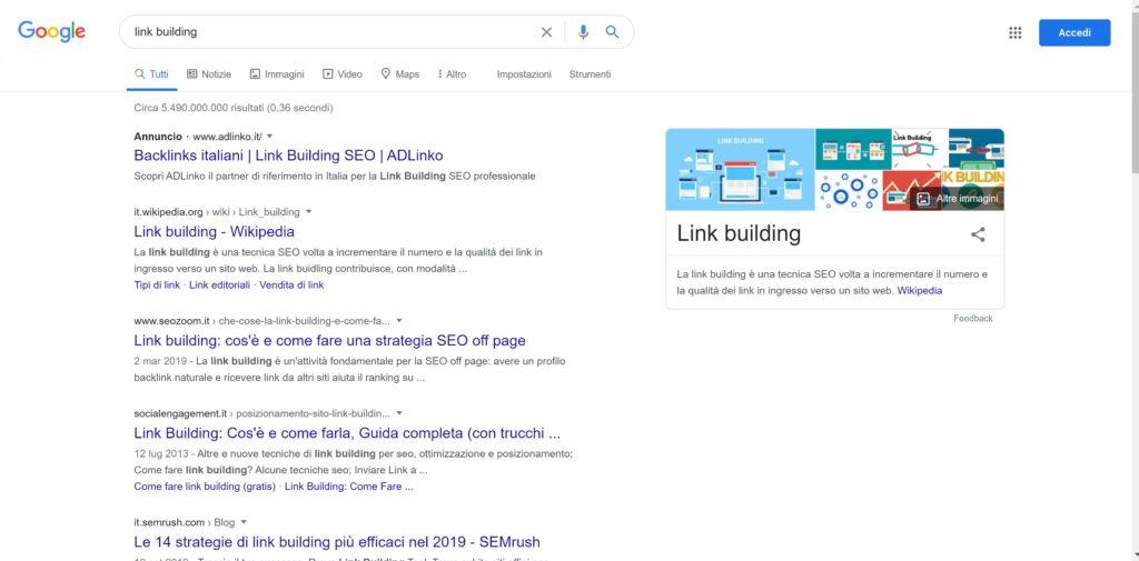 link building - cerca con Google