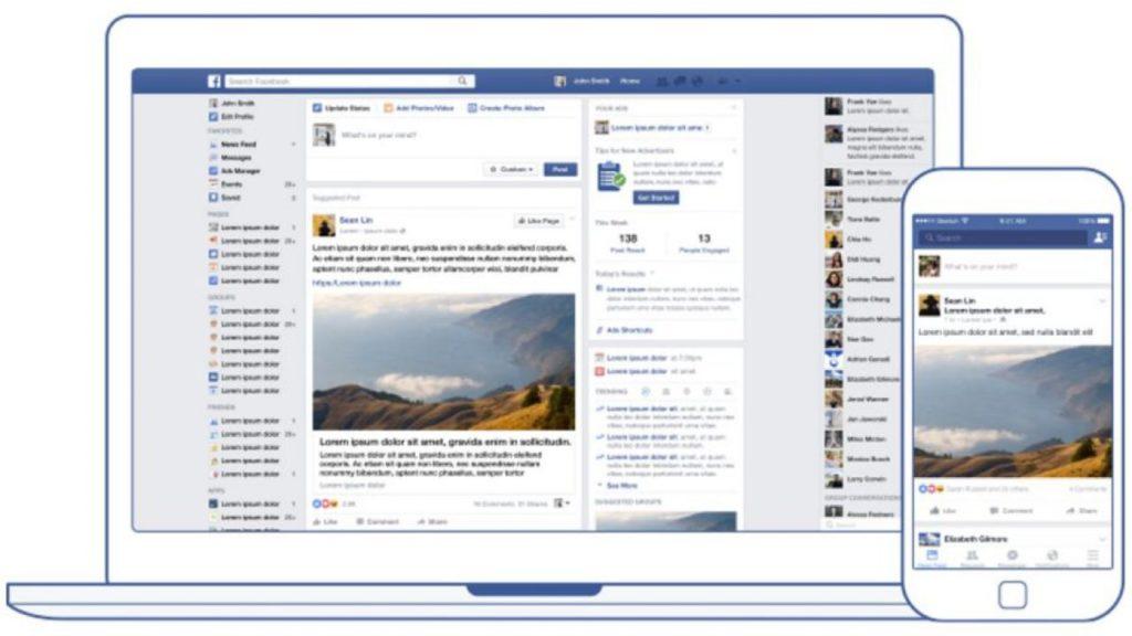 Il news feed di Facebook su desktop (parte centrale) e su mobile