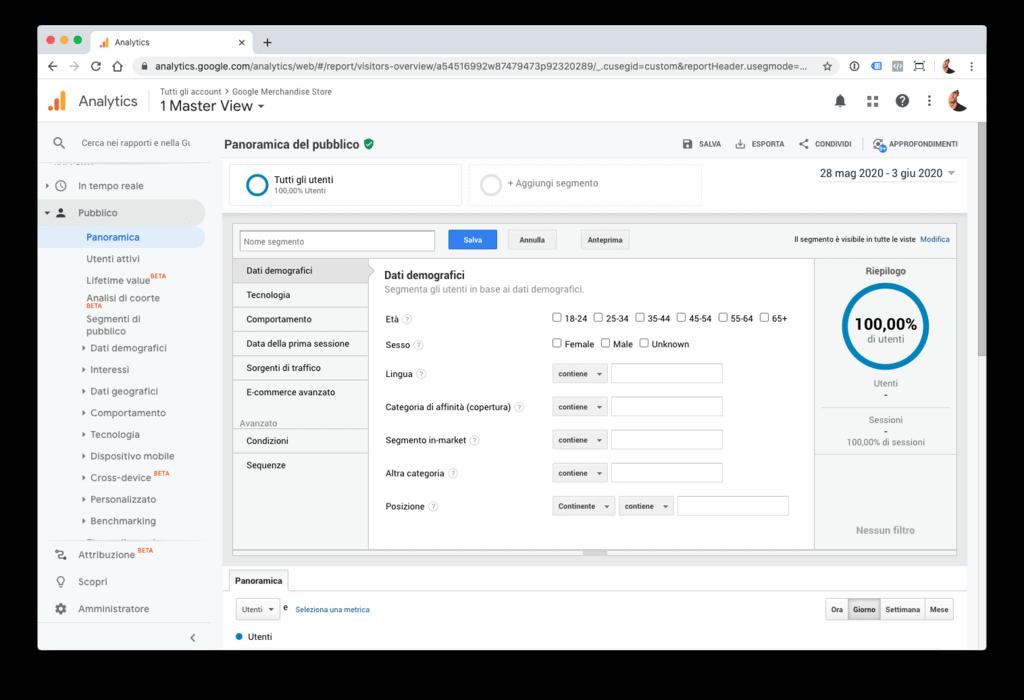 Creazione di un segmento personalizzato basato su metriche e dimensioni in Google Analytics.