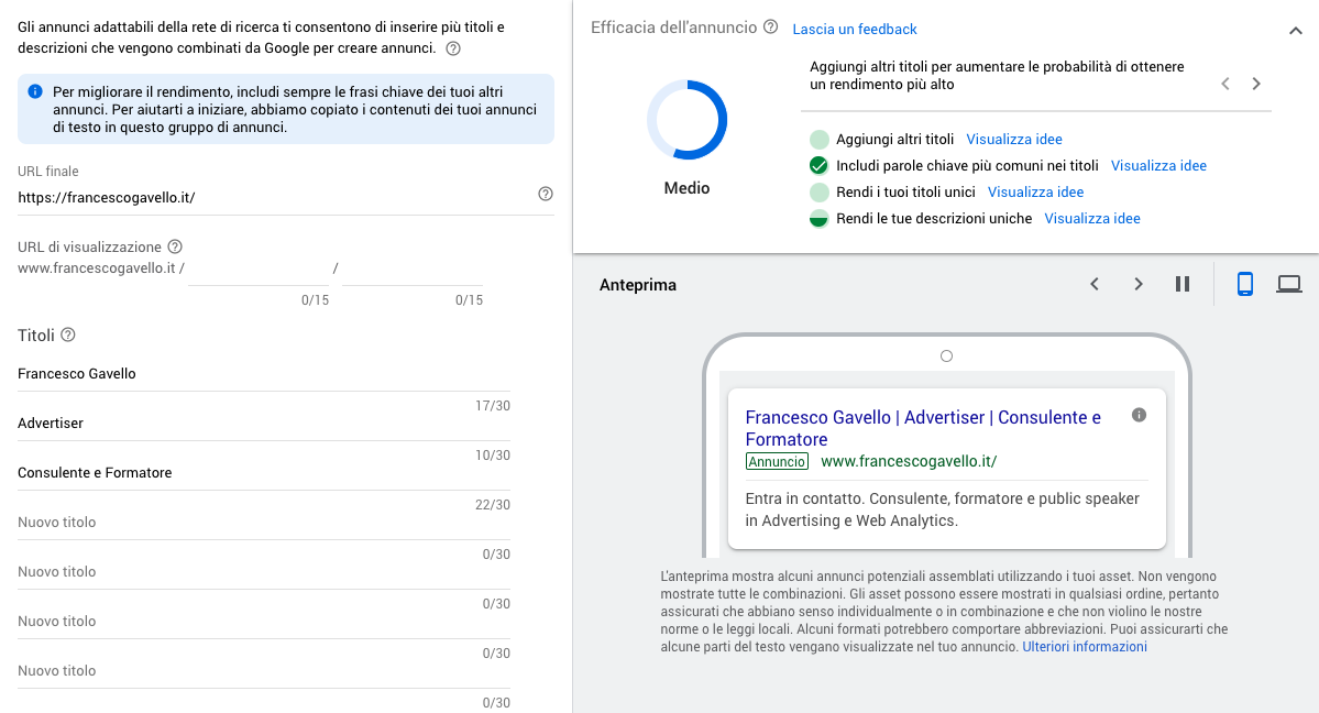 Scrivere un annuncio adattabile per una campagna ricerca in Google Ads