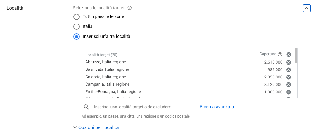 Gestire le località di una campagna in Google Ads