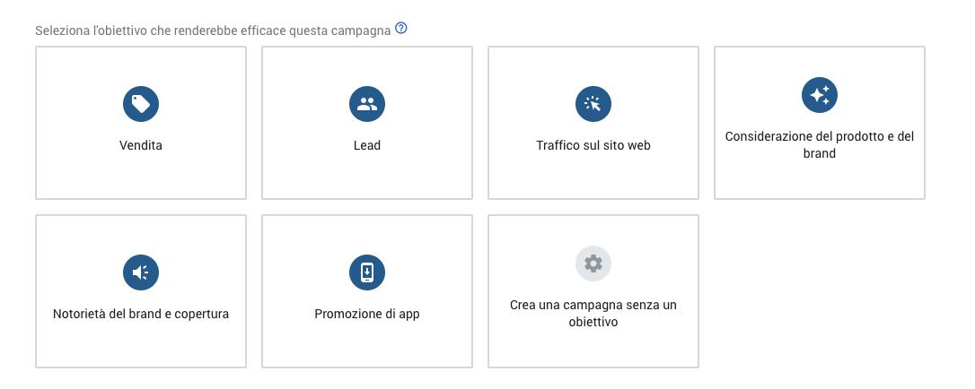Scegliere un obiettivo di campagna in Google Ads