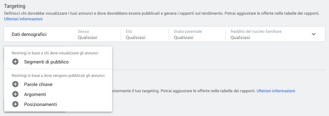 Opzioni di targeting per una campagna display in Google Ads