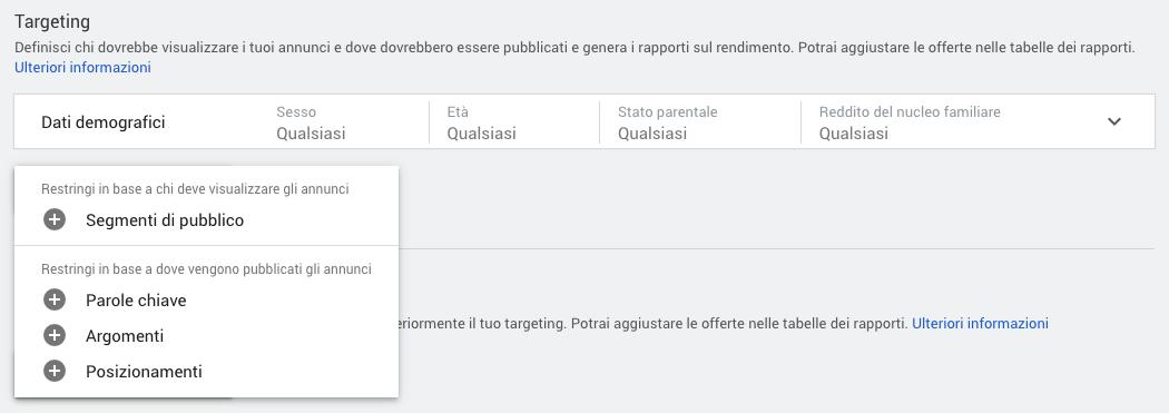 Opzioni di targeting per una campagna display in Google Ads