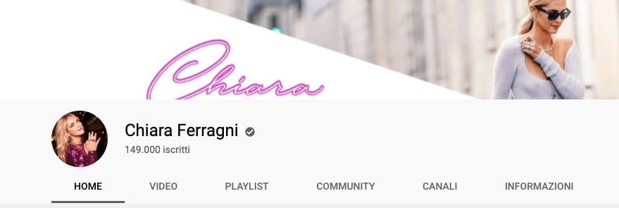 chiara ferragni su YouTube