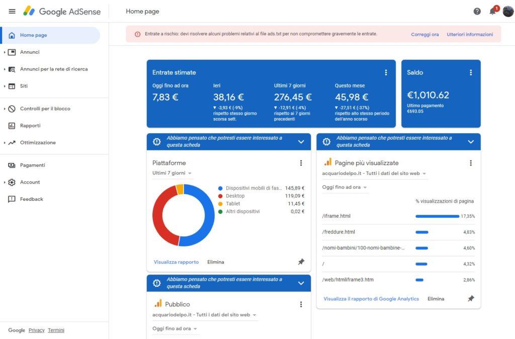 La Home page di Google AdSense
