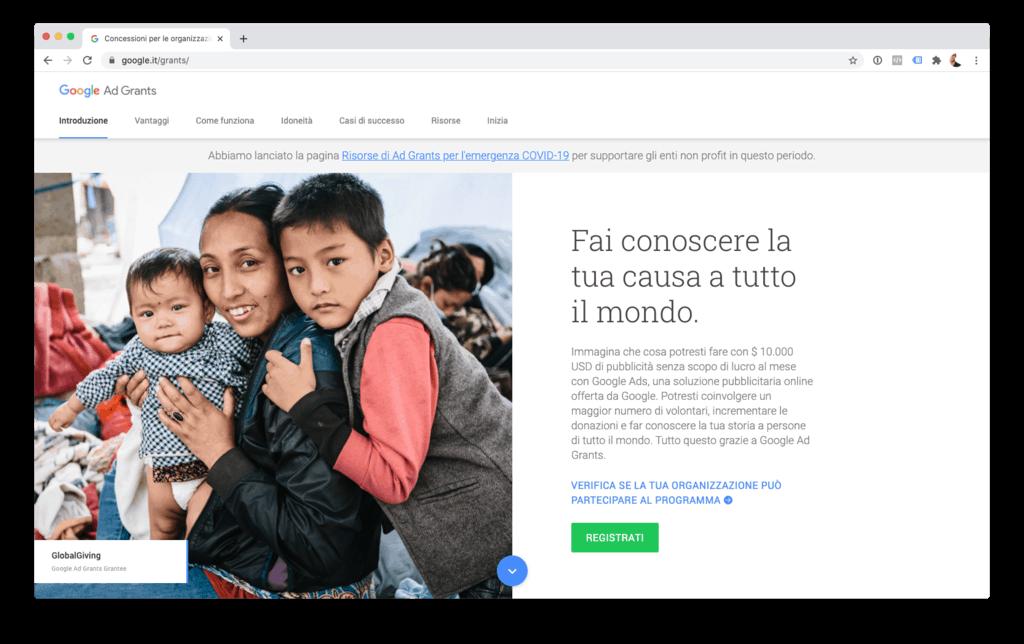 Google Ad Grans per le realtà non profit