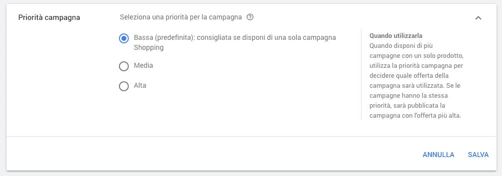 Scelta della priorità di una campagna Google Shopping