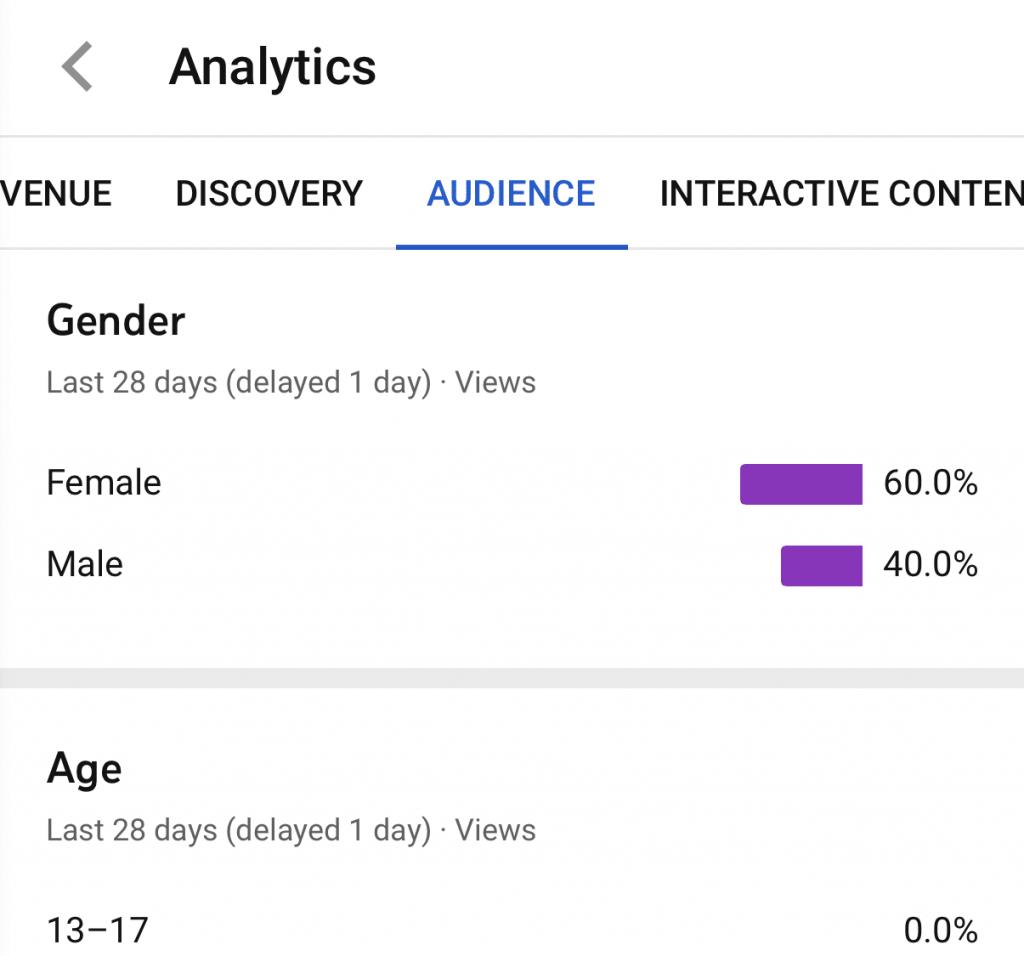 scheda del pubblico youtube analytics