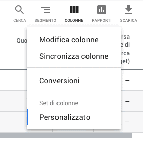 Modificare le colonne in Google Ads