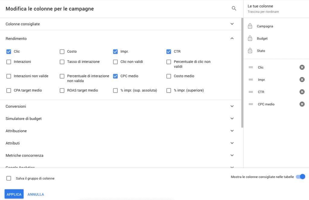Modificare le colonne in Google Ads