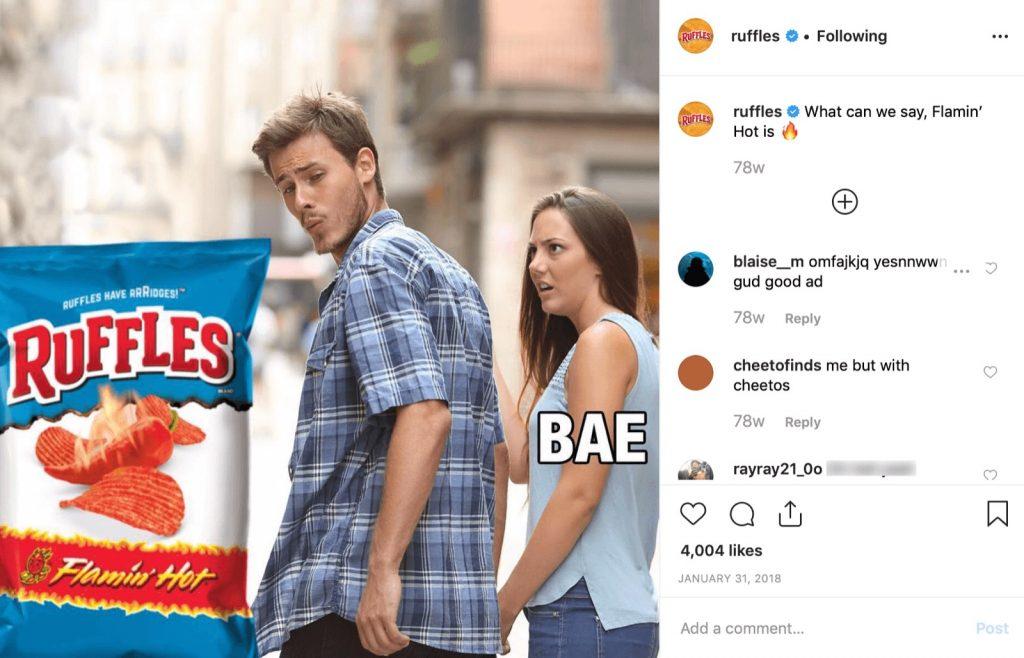 Un esempio di utilizzo di un meme da un'azienda