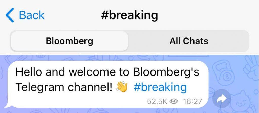 Crea gli hashtag su Telegram.