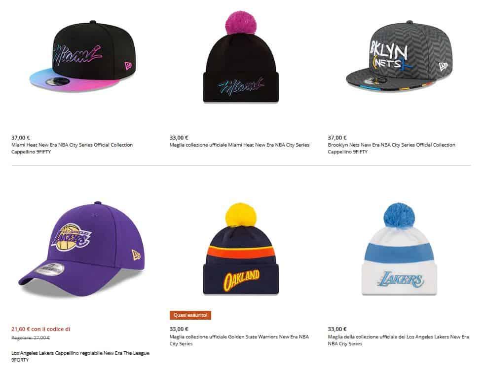 Esempi di merchandising NBA (cappellini)