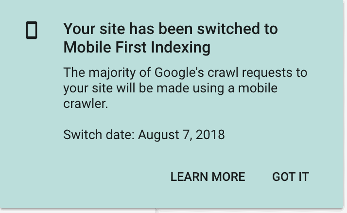 Google Search Console - Mobile First Indexing