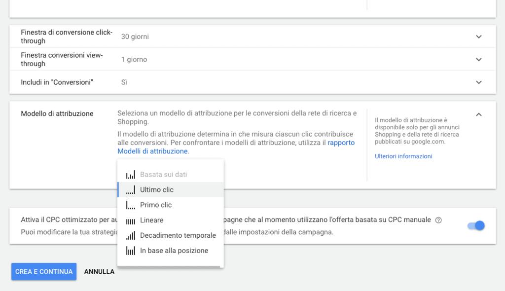 Scelta del modello di attribuzione per una conversione in Google Ads