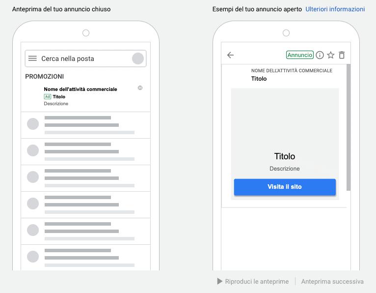 Annuncio Gmail compresso e espanso