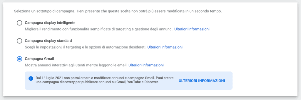 Campagne display, sottotipo Gmail