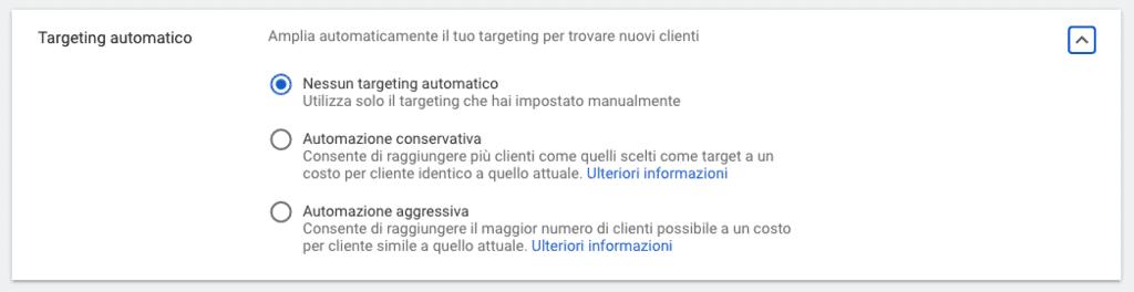 Espansione del targeting per una campagna Gmail in Google Ads