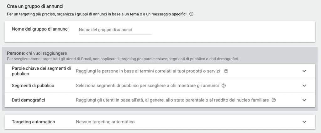 Opzioni di targeting per una campagna Gmail