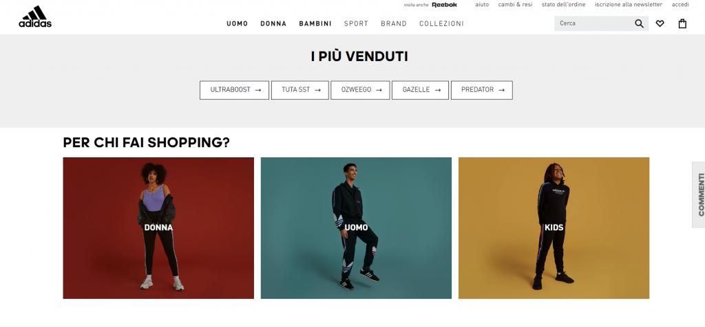 Homepage efficace per ecommerce  Adidas