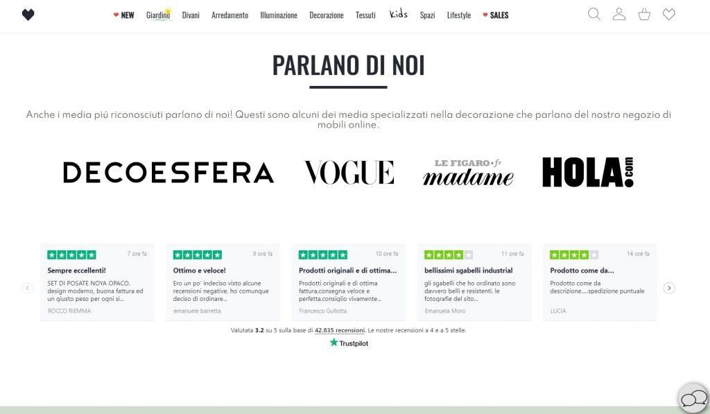 Homepage efficace per ecommerce  Sklum