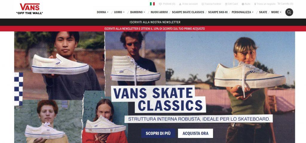 Homepage efficace per ecommerce Vans